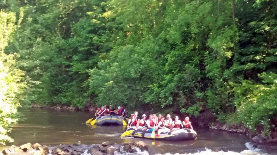 Rafting Boote auf dem Fluß