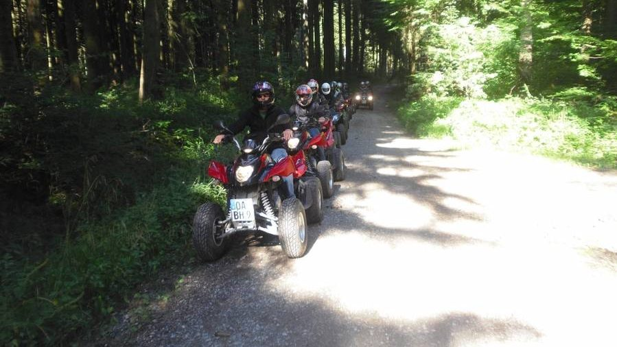 Parkende Quads im Wald